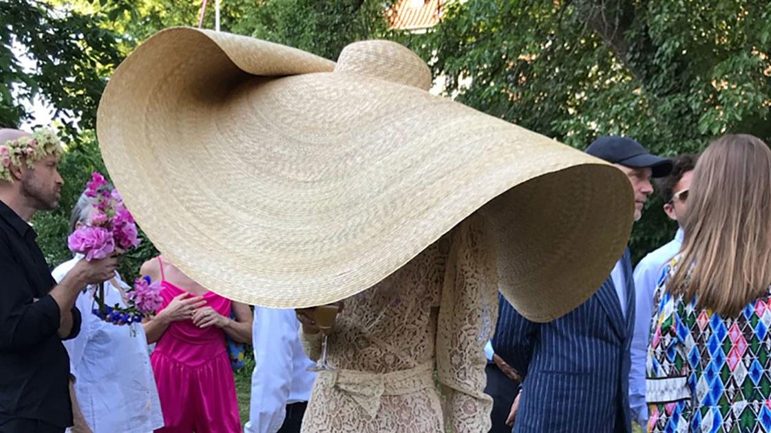 Jacquemus's gigantic hat on Emma Leth
