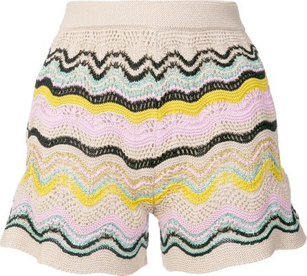 M Missoni Striped knit short shorts