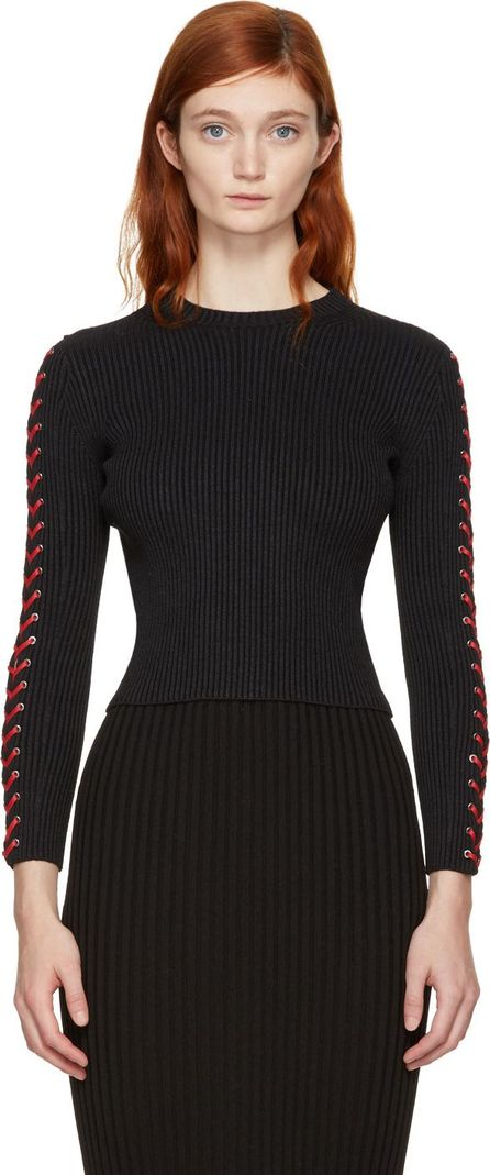 Alexander McQueen Black & Red Cropped Lace-Up Sweater