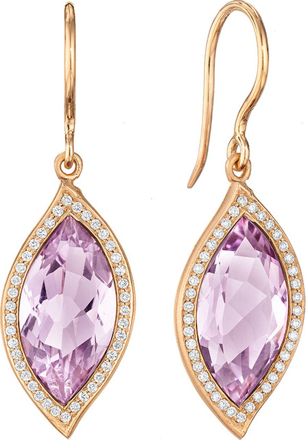 Carelle 18K Leaf Amethyst Earrings with Diamonds