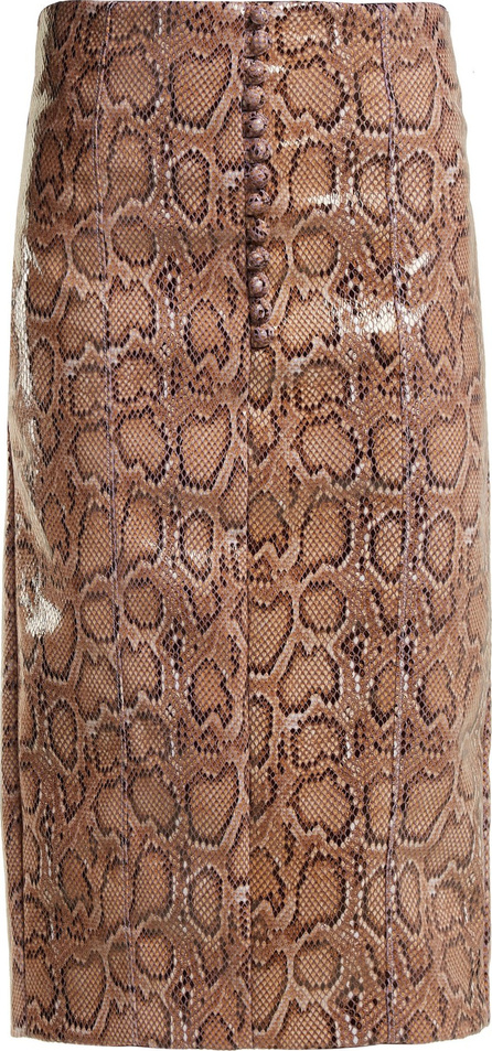 Hillier Bartley Python-effect faux-leather pencil skirt