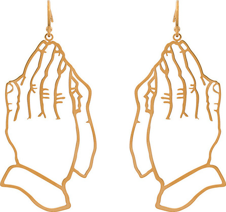 Simone Rocha Gold metallic praying hands earrings