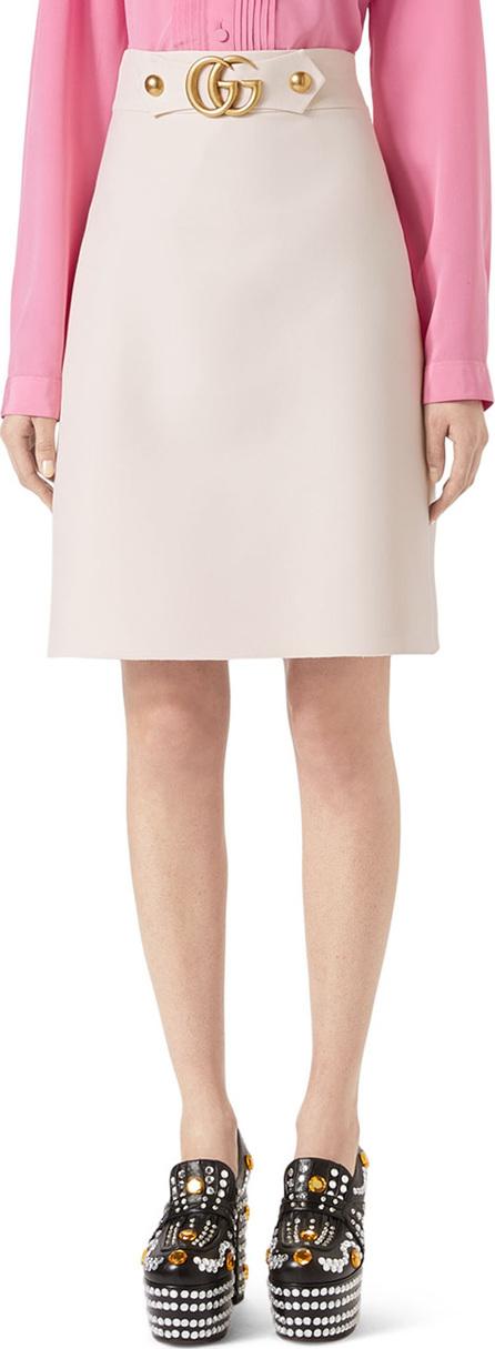 Gucci A-Line Wool-Silk Skirt w/ GG Hardware