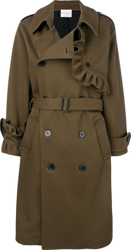 Erika Cavallini ruffle trim double breasted coat