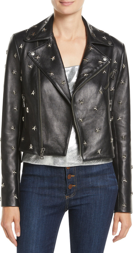 Alice + Olivia Cody Crop Star-Studded Leather Moto Jacket