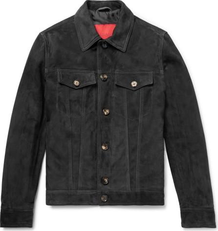 Isaia Suede Trucker Jacket