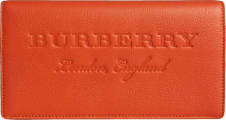 Burberry London England Embossed leather continental wallet