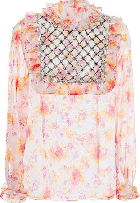 DODO BAR OR Crystal-embellished floral blouse