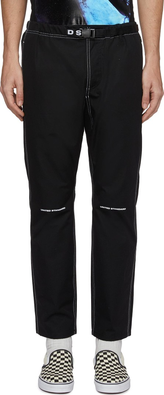 UNITED STANDARD 'Trek' buckled logo print overlock stitching jogging pants