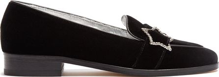 Alexachung Embellished-star velvet loafers
