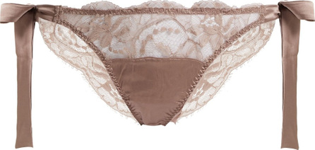 Fleur of England Mink floral-lace and satin tie-side briefs