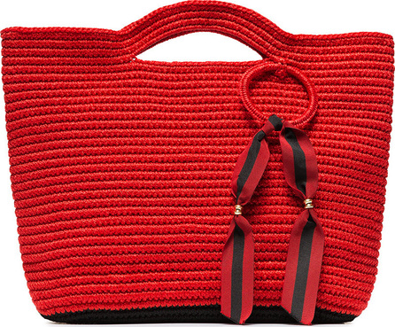 Sensi Studio Red ribbon tassel straw basket bag