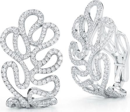 Miseno 18k White Gold Sea Leaf Diamond Huggie Earrings