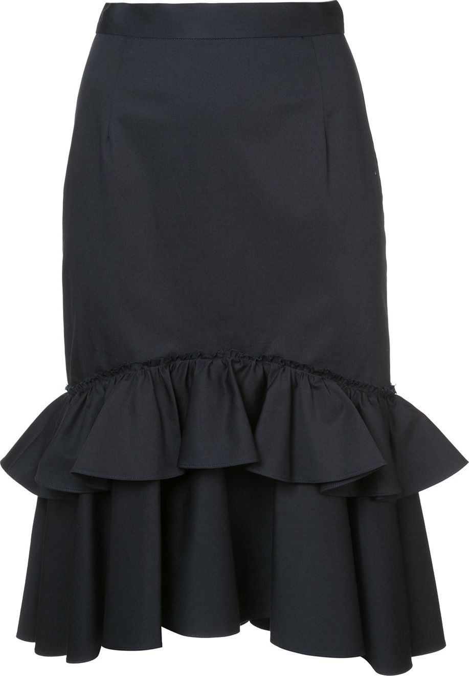 tome fitted midi skirt with frill hem mkt