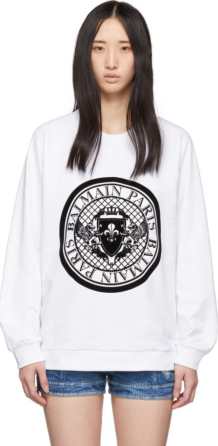 Balmain White Flocked Coin Sweatshirt