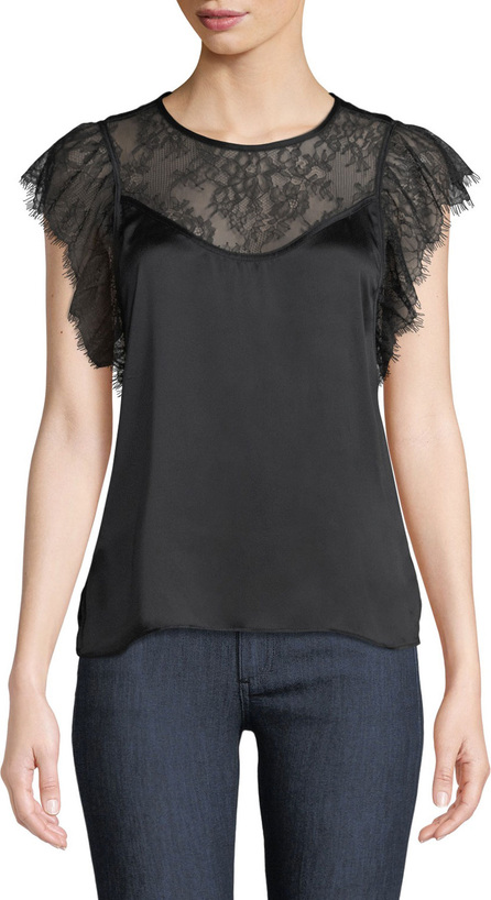 CAMI NYC The Vivian Layered Lace Silk Charmeuse Top