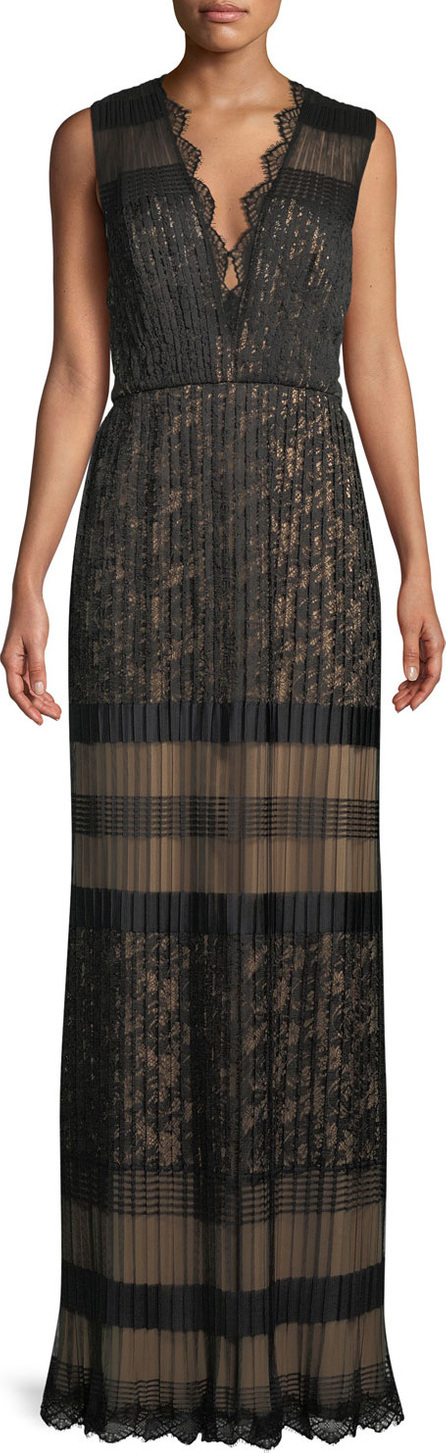 Tadashi Shoji V-Neck Multi-Lace Sleeveless Long Dress