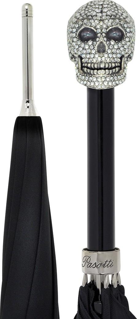 Pasotti Black Women's Umbrella w/Swarovski Crystals Silvertone Skull Handle
