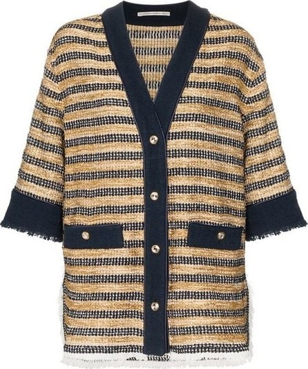Alessandra Rich Oversized Striped Tweed Cardigan