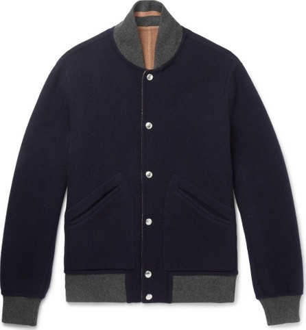 Brunello Cucinelli Reversible Wool and Cashmere-Blend Bomber Jacket