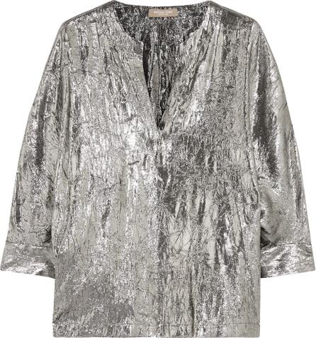 Michael Kors Collection Crinkled silk-blend lamé blouse