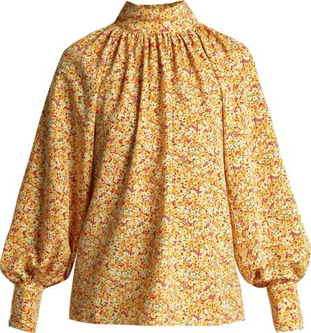 Anna October Floral-print high-neck cotton blouse
