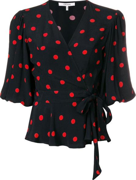 Ganni Polka dot wrap blouse
