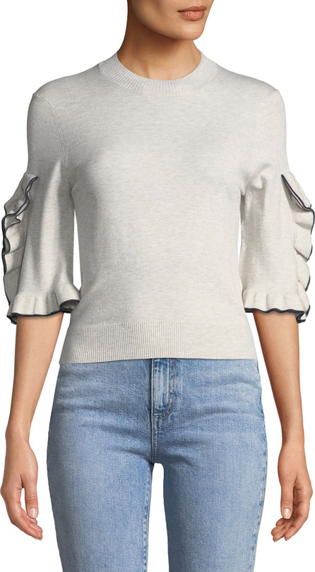 See By Chloé Ruffle-Sleeve Cropped Crewneck Sweater