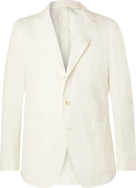 Caruso Cream Butterfly Cotton, Linen and Silk-Blend Suit Jacket