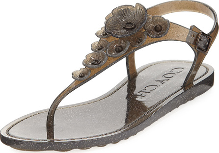 COACH Tea Rose Jelly Flat Sandals, Black