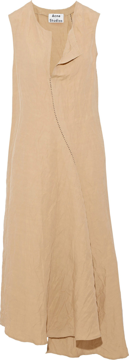 Acne Studios Asymmetric draped linen-blend midi dress