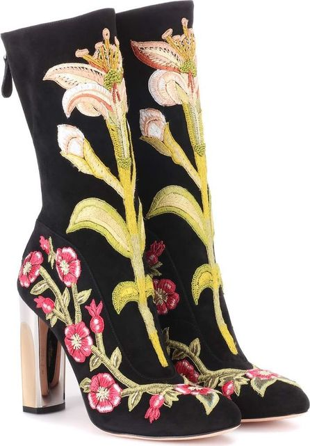 Alexander McQueen Embroidered suede ankle boots