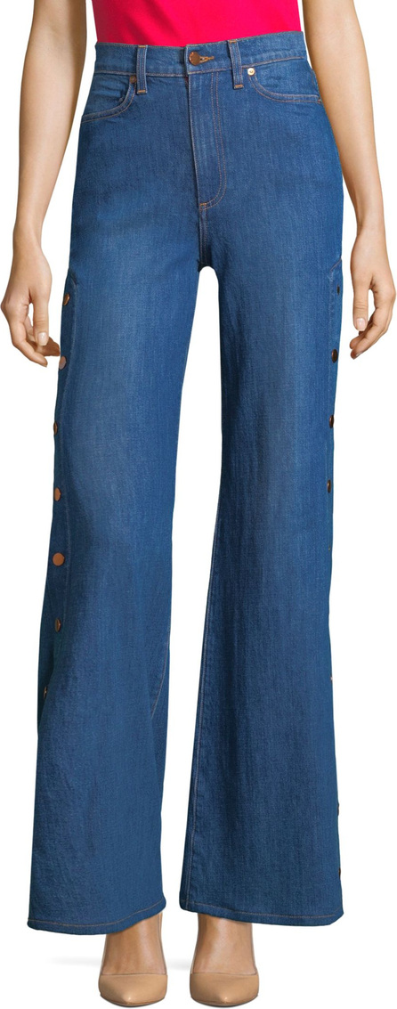 AO.LA by alice + olivia Gorgeous High-Rise Snap-On Seam Flare Jeans
