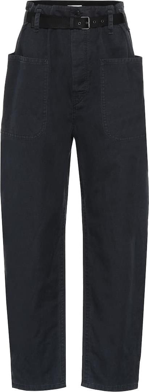 Isabel Marant Etoile Cotton and linen high-rise pants