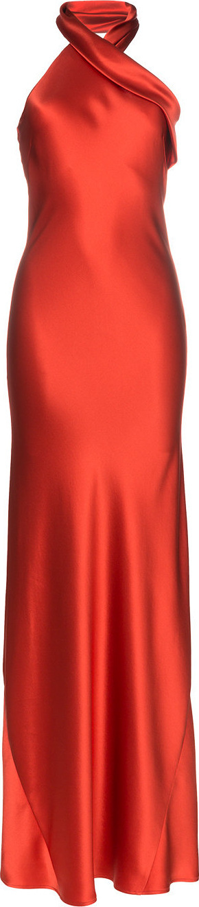 Galvan Pandora cross neck silk gown