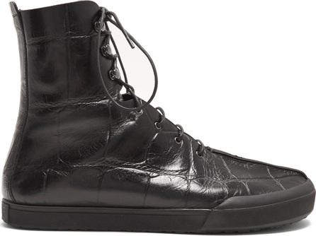 LOEWE Crocodile-effect leather ankle-boots