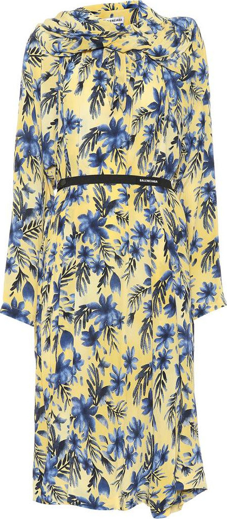 Balenciaga Floral-printed silk dress