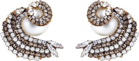 Erickson Beamon 'Delicate Balance' Swarovski crystal faux pearl swirl stud earrings