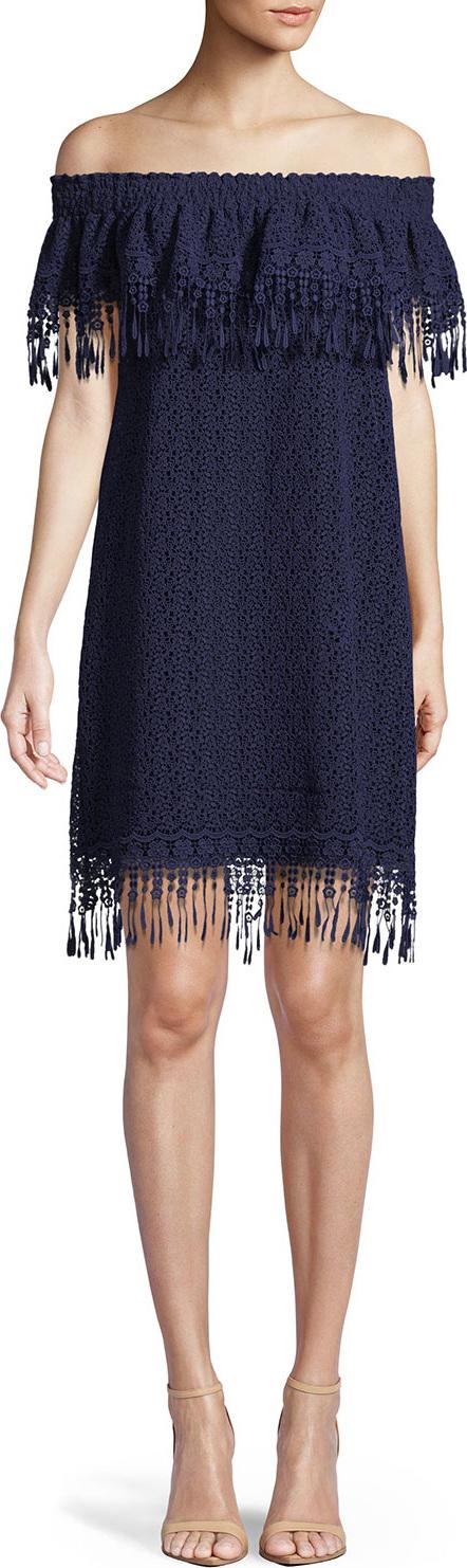 Elie Tahari Kalla Fringe Off-the-Shoulder Mini Dress