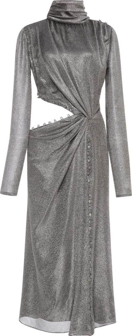 Prabal Gurung Metallic Cut Out Twist Silk Dress