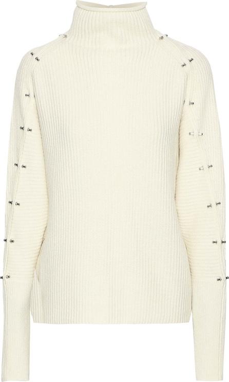 Elie Tahari Embellishment ribbed wool and cashmere-blend turtleneck sweater