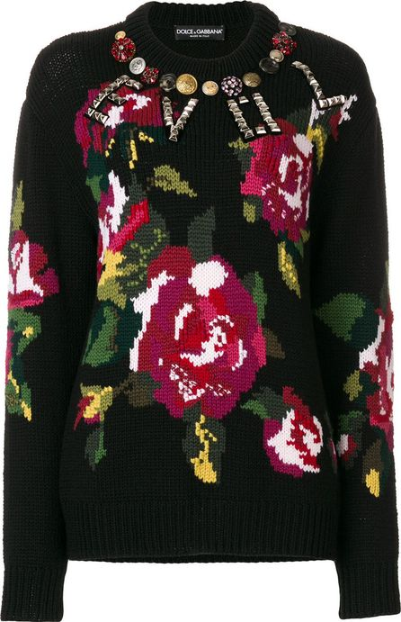 Dolce & Gabbana rose print knitted sweater with embellishments
