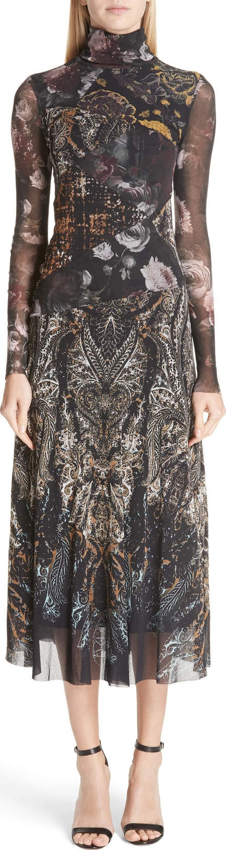 Fuzzi Mixed Print Tulle Turtleneck Dress
