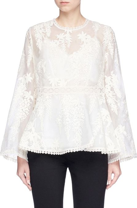 Zimmermann 'Maples' embroidered silk organza peplum top