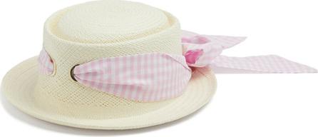 Federica Moretti Gingham-bow embellished straw hat