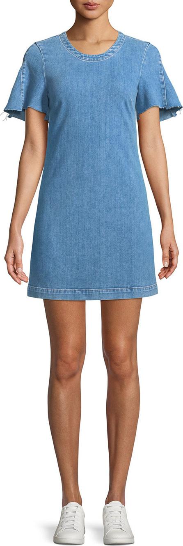 7 For All Mankind Short-Sleeve Denim Mini Dress