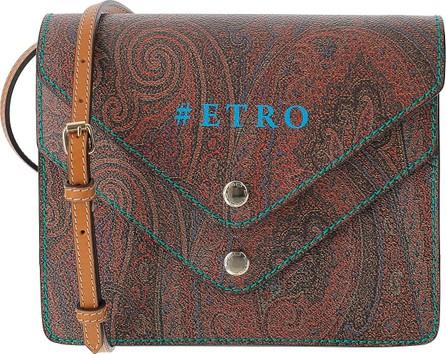 Etro Paisley Jacquard Canvas Double Flap Front Crossbody Bag