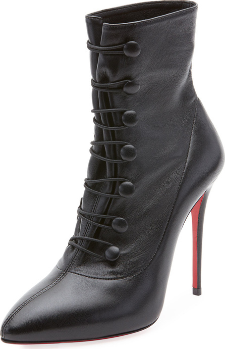 Christian Louboutin French Tutu Button-Loop Napa Red Sole Bootie