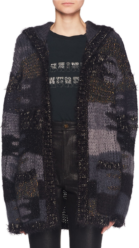 Saint Laurent No-Closure Metallic Camo-Textured Oversized Cardigan