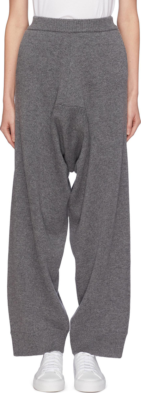 Stella McCartney Drop crotch virgin wool-alpaca knit wide leg pants